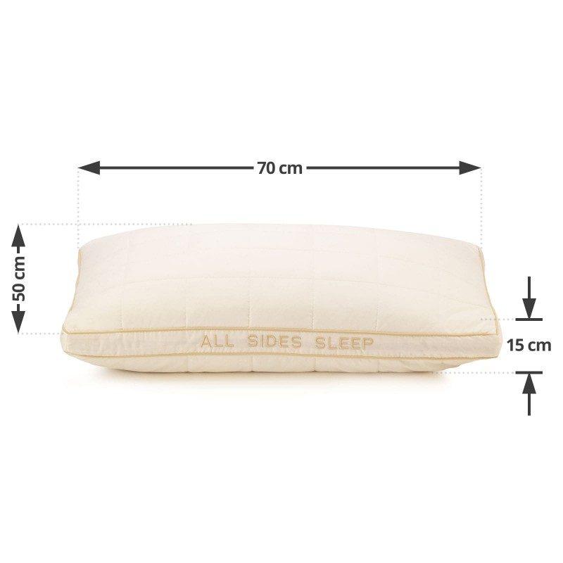 Klasični jastuk Hitex Bamboo All Sides Sleep će vas sigurno uvjeriti u svoju svestranost, jer je pogodan za sve položaje spavanja. Vaša koža će biti u kontaktu sa 100 % nebijeljenim pamukom i bambusovim vlaknima, što garantuje svježinu i higijensko okruženje za spavanje. Jastuk je potpuno periv na 60 °C.