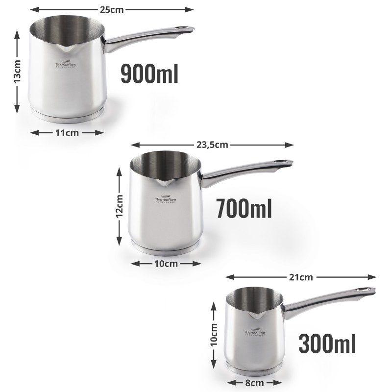 Čeličnu džezvu Pour&Cook prečnika 8 cm, zapremine 300 ml odlikuje neuništiv, nerđajući čelik 18/10 i 3-slojno dno, koje omogućava brzo, ravnomjerno zagrijavanje i kraće vrijeme kuvanja. Tehnologija ThermoFlow omogućava odličnu distribuciju toplote po cijeloj površini posude i na taj način obezbjeđuje ravnomjerno kuvanje. Pogodno za sve površine za kuvanje, uključujući indukcionu. Lako se čisti i može se prati i u mašini za pranje sudova.