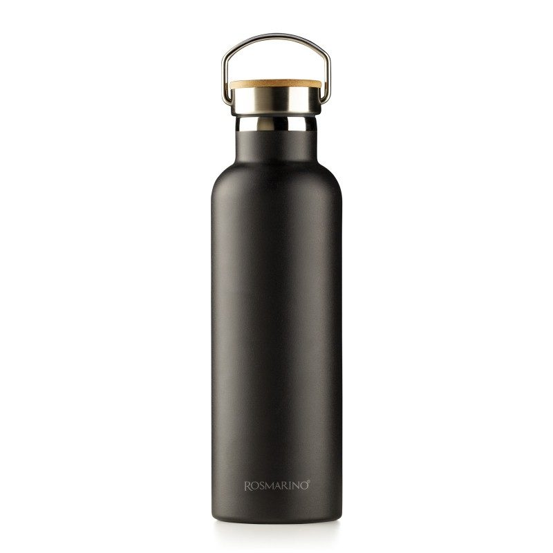 Vakuumska termos boca, od nerđajućeg čelika, nema nikakav miris ili ukus prilikom korišćenja. Ima dvostruko izolovan zid, tako da piće ostaje hladno 24 h i toplo 12 h. Moderno dizajniran termos ima specijalni premaz za bolje prianjanje ruci. Većoj eleganciji doprinosi poklopac od bambusa. Crna boja, zapremine 750 ml.