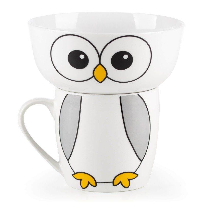 Dvodjelni Rosmarino porcelanski set sa motivom sove postaće omiljeni prijatelj vašeg djeteta za vrijeme doručka ili večere. Posudica je idealna za pripremu žitarica, voća, povrća, sladoleda i druge dječije hrane, dok je šoljica pogodna za pripremu svih vrsta pića, mlijeka, kakaa ili čaja. Set je izrađen od visokokvalitetnog porcelana primjerenog za upotrebu u mikrotalasnoj rerni, frižideru i mašini za pranje posuđa. Glavna prednost porcelana je u tome što ne poprima miris i ukus i jednostavan je za čišćenje sa dugim rokom trajanja. Idealan izbor za poklon.