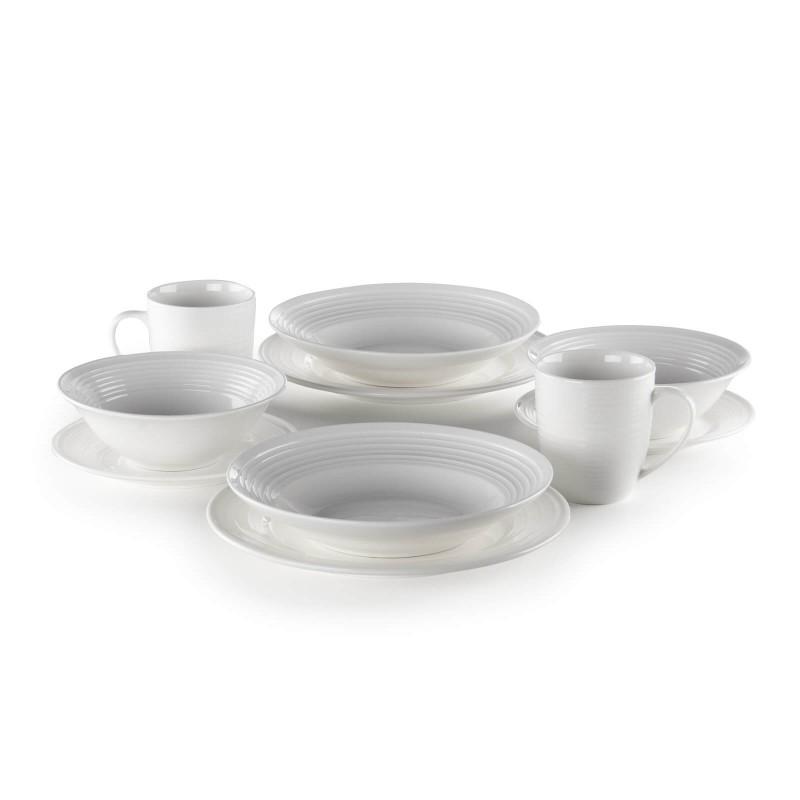 Linija porcelana Rosmarino Cucina Deko će Vas impresionirati svojim prefinjenim dizajnom i sniježnom bjelinom za bezgraničnu eleganciju. Uživajte u omiljenim obrocima! Šolje su izrađene od visokokvalitetnog i izdržljivog porcelana.  Mogu se koristiti i za hladne i tople napitke, posebno za kafu, kakao ili čaj. Glatki i sjajni porcelan će vašem stolu dati klasičnu ljepotu i dodatnu vrijednost i zasigurno će oduševiti i ukućane i goste. Porcelan nije pogodan samo za kućnu upotrebu, već se svojim prefinjenim izgledom odlično uklapa i u profesionalnim kuhinjama.
