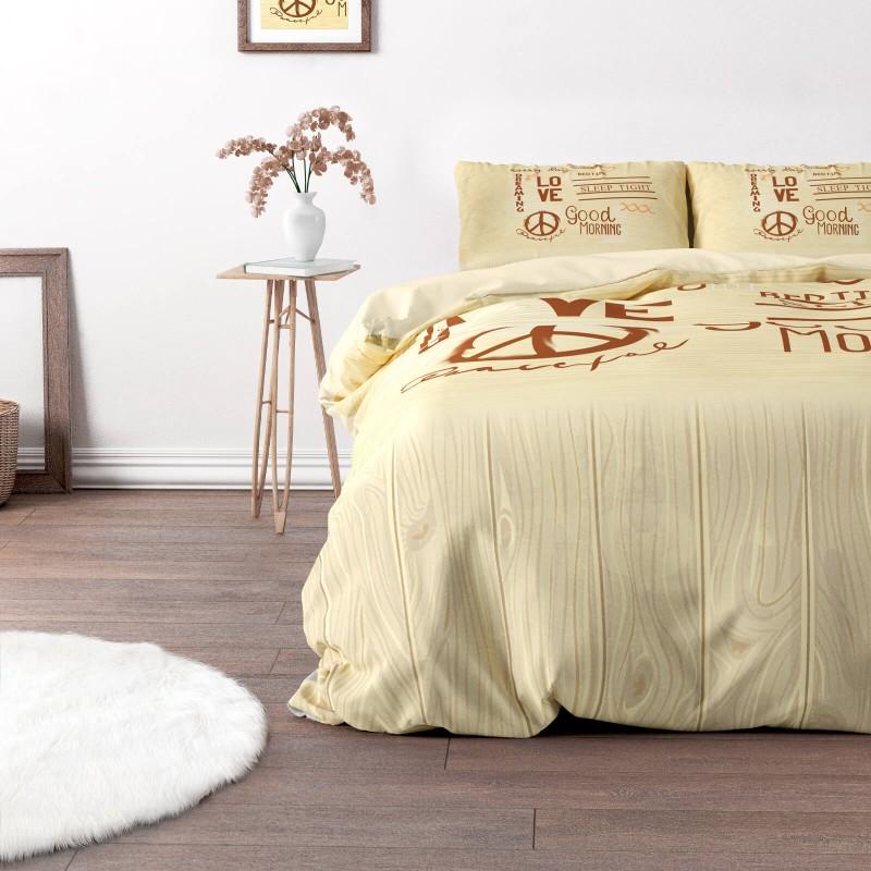 Vrijeme je za potpuno uživanje u modernim pamučnim posteljinama! Posteljina Love&Piece je izrađena od renforce platna, koji važi za laganu i mekanu tkaninu, koja se lako održava. Moderan dizajn sa natpisom će vas očarati. Posteljina je periva na 40 °C.