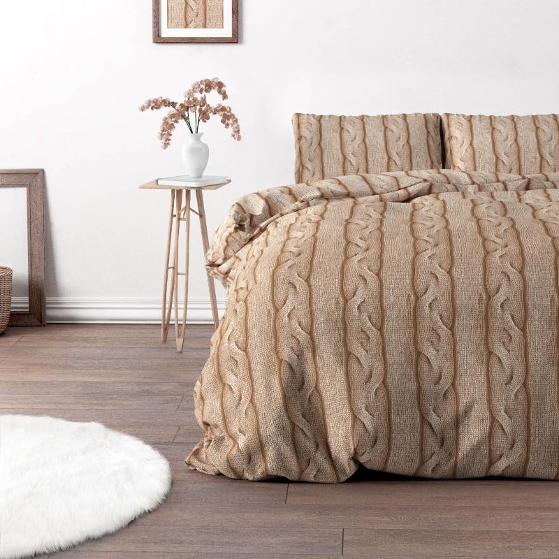 Vrijeme je za potpuno uživanje u modernim pamučnim posteljinama! Posteljina Braid Cable je izrađena od renforce platna, koji važi za laganu i mekanu tkaninu, koja se lako održava. Moderan dizajn sa motivom pletenice će vas očarati. Posteljina je periva na 40 °C.