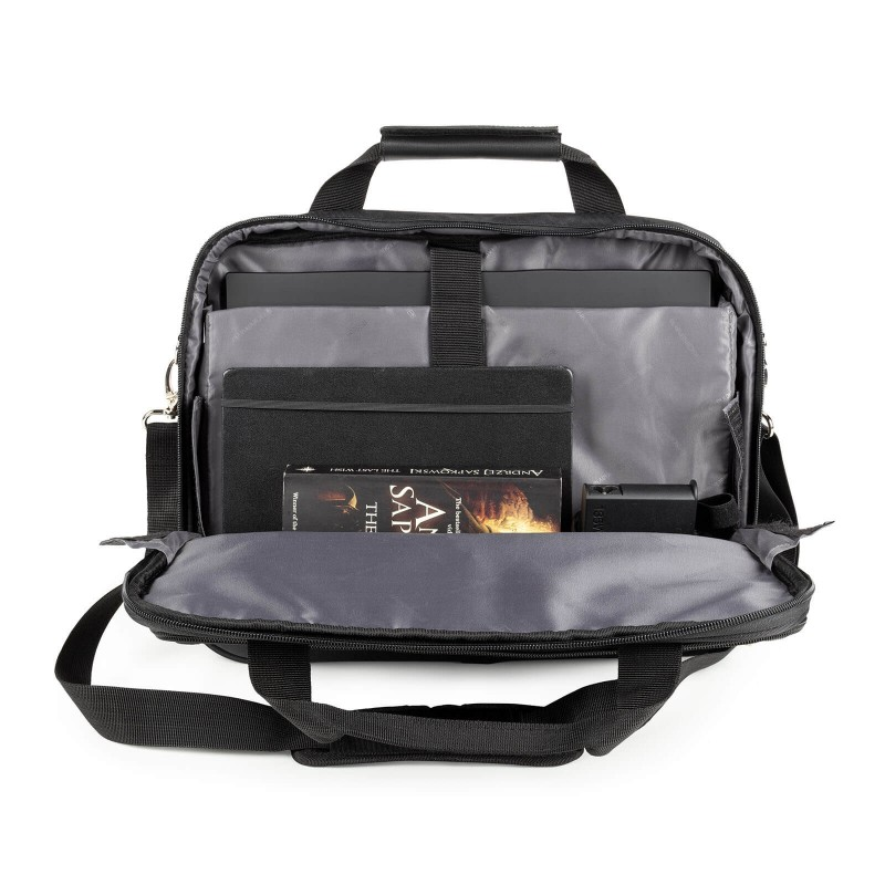 """Torba za lap top Soho je modernog dizajna. Centralna veća pregrada pogodna je za laptop veličine do 15"""",a dodatne brojne pregrade i džepovi omogućavaju lakšu organizaciju predmeta, dokumenata i ostalog. Torba se može nositi u rukama, jer ima dvije kraće i deblje ručke, a uz podesivi kaiš za rame, može se koristiti i preko ramena."""