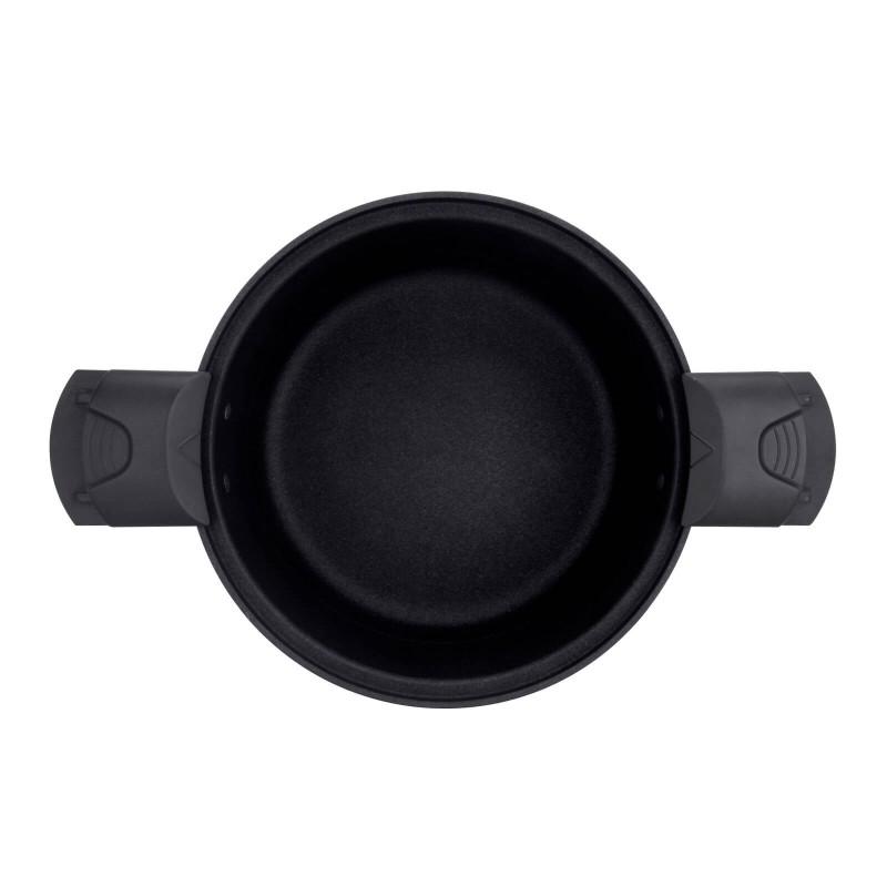 Lonac Rosmarino za kuvanje pod pritiskom, prečnika 24 cm, od kvalitetnog aluminijuma omogućava brže, sigurnije i zdravije kuvanje pod niskim pritiskom. Lonac možete koristiti za kuvanje pod pritiskom, kuvanje na pari ili dinstanje. Tako hrana zadržava sve hranjive sastojke, vitamine i minerale. Istovremeno lonac možete koristiti za klasičan način kuvanja, sa i bez poklopca. Express lonac skraćuje vrijeme kuvanja za čak 50% i štedi do 70% energije. Zahvaljujući kvalitetnom mineralnom premazu lonac omogućava kuvanje bez prijanjanja. Primjeren za sve vrste površina za kuvanje, uključujući indukciju. Pranje je vrlo jednostavno.