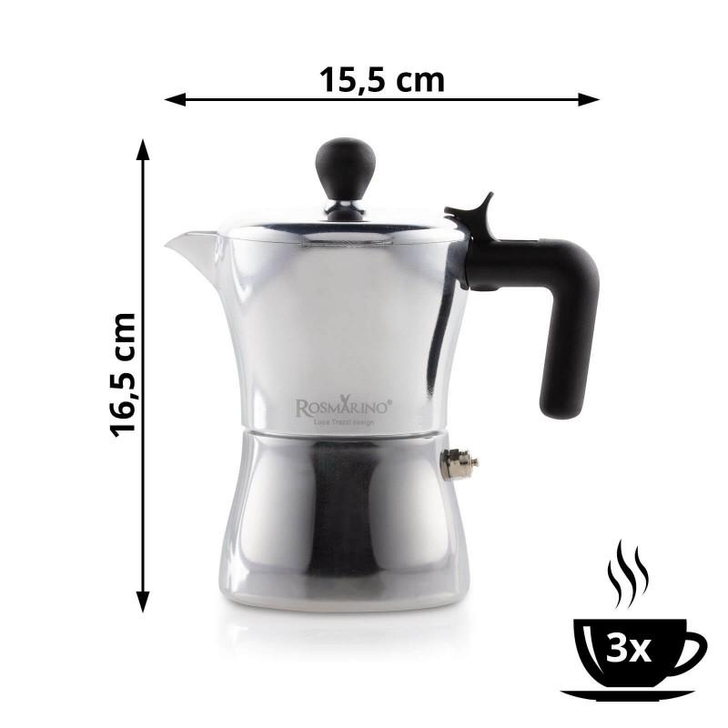 Kafetijera Rosmarino zapremnine 150 ml je savršena za pripremu od 1 do 3 šoljice kafe. Izrađena je od aluminijuma i presvučena slojem od nerđajućeg čelika pogodna je i za upotrebu na indukciji. Paket uključuje i dodatak za pripremu jedne šoljice kafe. Minimalističan dizajn poznatog industrijskog dizajnera Luce Trazzija sa ergonomskom ručkom od SoftTouch materijala garantuje još jednostavniju pripremu kafe. Nakon upotrebe kafetijeru jednostavno isperite pod tekućom vodom.