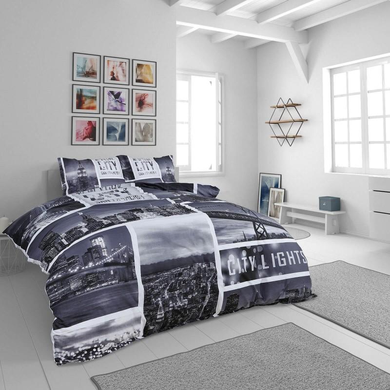 Vrijeme je za potpuno uživanje u modernim pamučnim posteljinama! Posteljina City Lights izrađena je od renforce platna, mekane tkanine, jednostavne za održavanje. Očarati će vas moderan dizajn sa printom mjesta. Posteljina je periva na 40 °C.