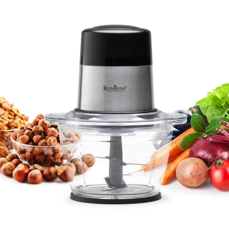 Sjecko Rosmarino Infinity biće vaš novi pomoćnik kod sjeckanja svih vrsta hrane i namirnica, čak i najtvrđih. Oštrice od nerđajućeg čelika omogućavaju usitnjavanje i drobljenje različitih komada povrća, voća, mesa, hljeba, orašastih plodova ili leda! Snaga motora od 300 W, 2 brzine i dodatna pulsna funkcija oduševiće vas jednostavnom i zdravom pripremom hrane. U staklenoj posudi od 1000 ml moći ćete jednostavno sjeckati i pripremati obroke za cijelu porodicu. Izvrstan je i za pripremu različitih dječjih obroka, sve u jednoj posudi. Minimalistički dizajn u crnoj i inox boji će takođe zadovoljiti sve ljubitelje elegancije u bilo kojoj modernoj kuhinji.
