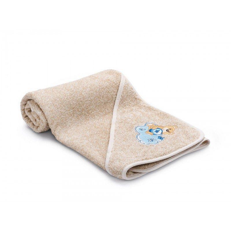 Dječiji peškir za kupanje, sa kapuljačom izrađen je od 100% pamuka. Najmlađima će se najviše dopasti zbog izvezenog plavog medvjedića. Dimenzija: 80x80 cm.