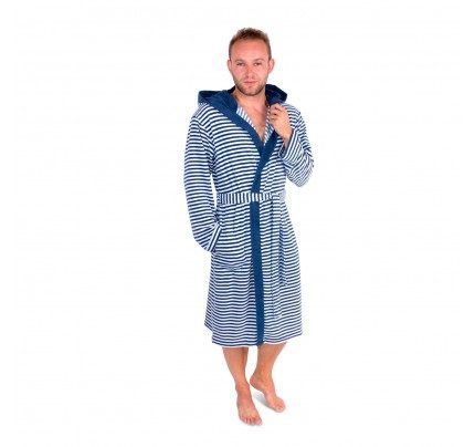 Bade mantil sa kapuljačom Svilanit Line - plavi